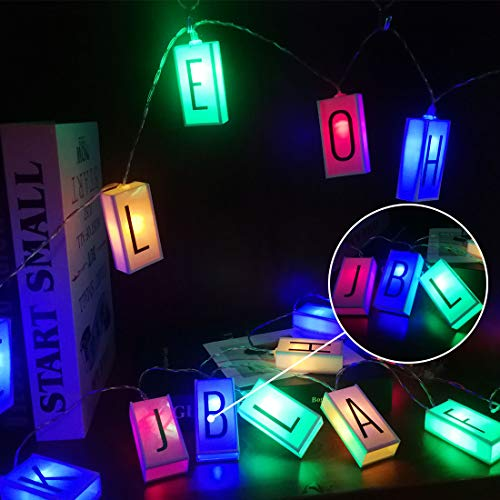 LED Letter Light Box String (78.7in 20led) Glow in The Dark DIY Letter Combination Sign,Happy Birthday Banner Birthday Holiday Decoration Lantern Battery Box String Lights
