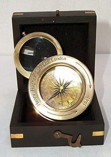 Zware maritieme tafel kompas vergrootglas kaartlezer kompas in houten doos