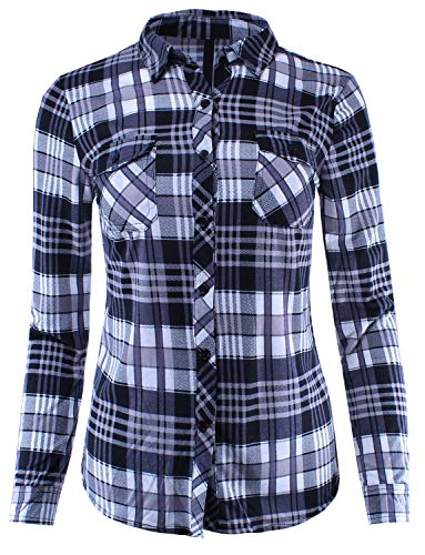 Plaid Button Down Shirt Blouse Roll Up Sleeve Navy Red Mocha 1XL Size