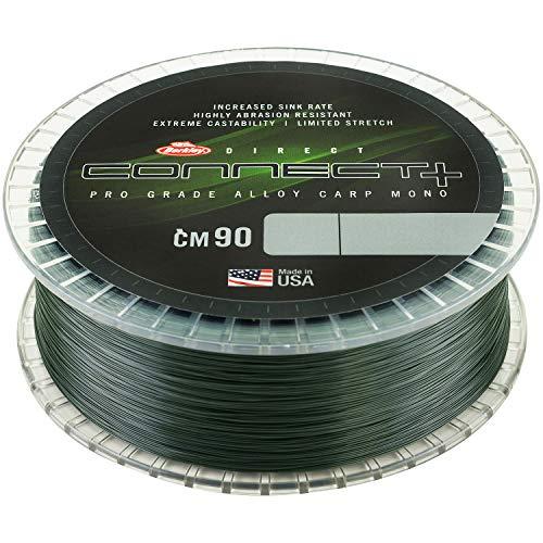 Berkley Connect CM90 bobine de 1200m de fil de pêche monofilament vert, coule vite, très résistant et aucune mémoire, silure, carpe et barbot