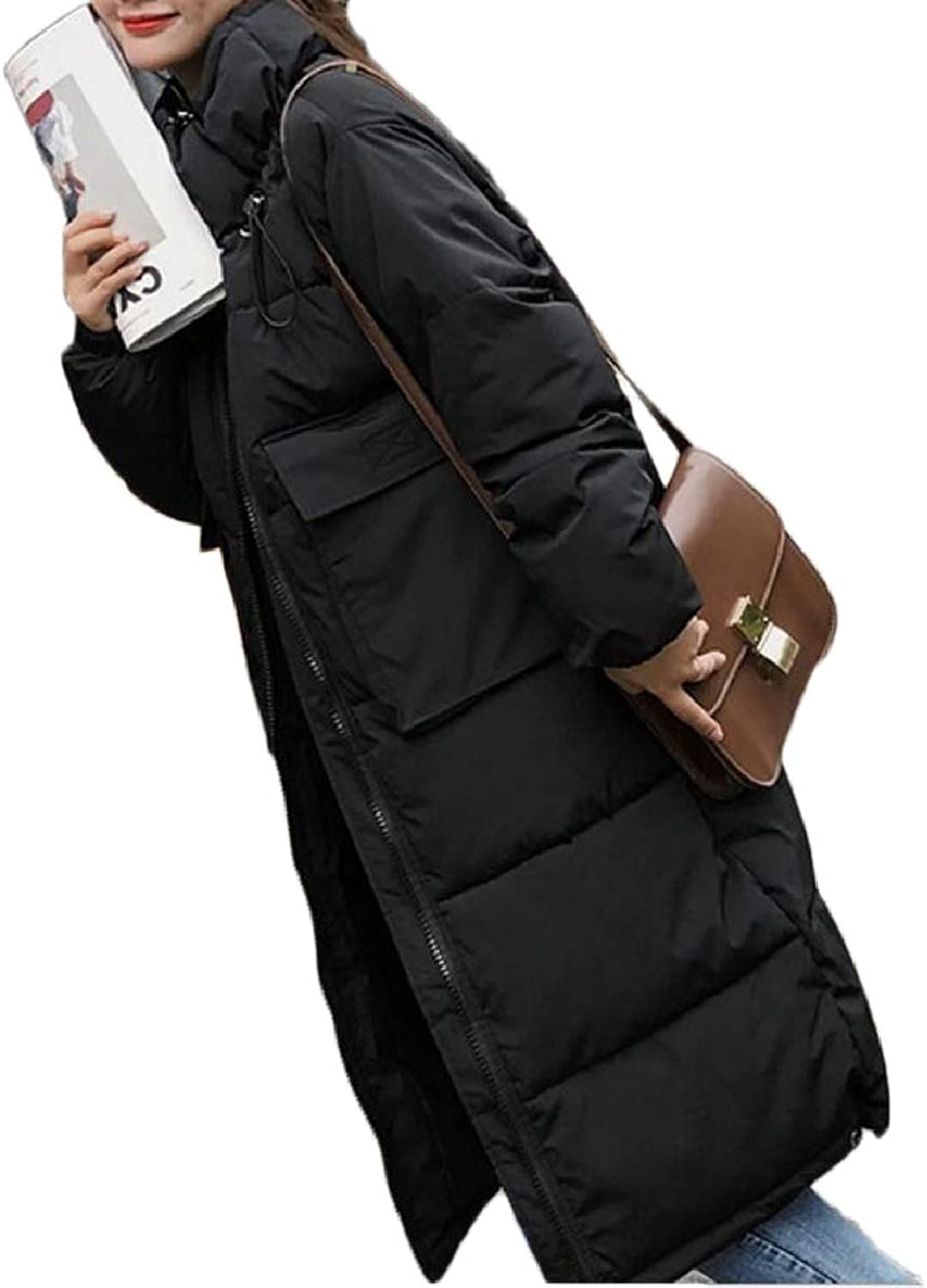 LEISHOP Women's Winter Warm Long Length Thicken Stand Collar Down Jacket Coat