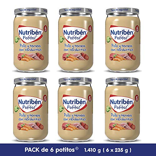 Nutribén Potitos De Pollo Y Ternera con Verduritas Desde Los 6 Meses Pack de 6 x 235 gr.