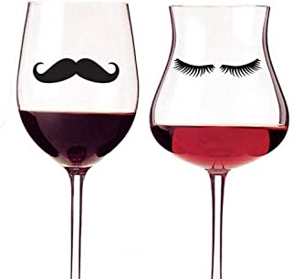 TIVOPA Mustache and Eyelashes Design Vinyl Wall Stickers Glass Decals Set of 20 Pcs