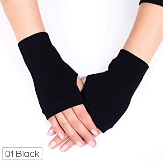 Niome 1 Pair Fingerless Gloves Women Winter Autumn Warm Knitted Cool Student Dancing Gloves