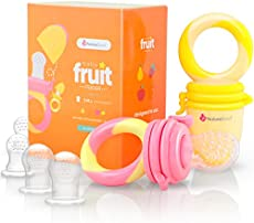 NatureBond Baby Food Feeder/Fruit Feeder Pacifier (2 Pack) - Infant Teething Toy Teether | Includes Additional Silicone Sacs