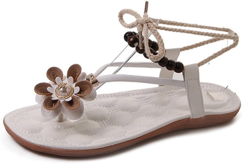 Womens Ladies Fashion Bohemia Flower String Beaded Flat Flip Flops Comfy Slip on Dressy Thongs Walking Sandals