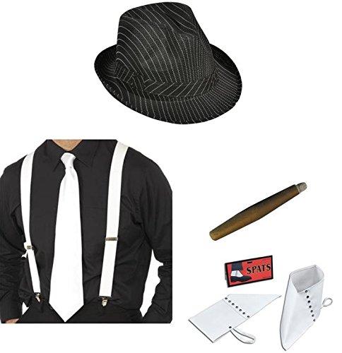 GANGSTER Hat Blanc bretelles, Cravate, Spats et cigare Costume Mafia ANNÉES 1920