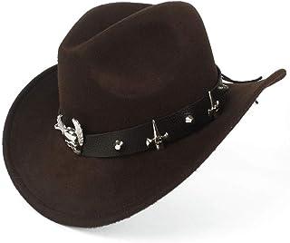 ウエスタンカウボーイハット 帽子ファッション女性の西部のカウボーイハットジャズ帽子ビスマス合金テープ馬術の帽子 (色 : コーヒー, サイズ : 56-58CM)