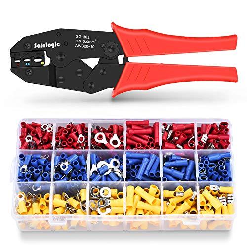 Sainlogic Crimpzange Kabelschuh Set, krimpzange kabelschuhe set mit 700 stk. , Elektrische Steckverbinder Quetschverbinder Sortiment 0,5-6 qmm für isolierte Kabelschuhe