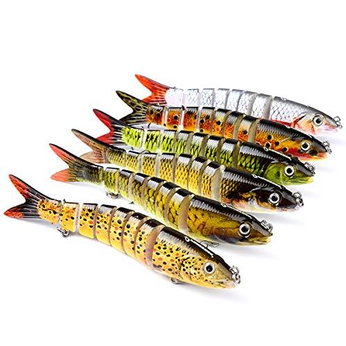 MKNZOME Señuelos de pesca realistas, 1 pieza de cebo multiarticulado para natación, cebos biónicos, cebos para lucio, lubina, trucha, perca, muskie