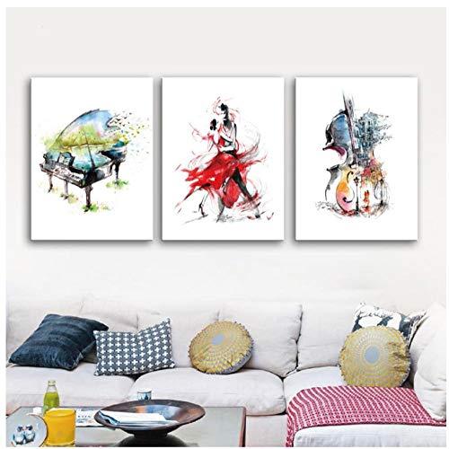 Abstrakte Leinwand Kunst Malerei Hd Print Aquarell Waltz Dance Poster Klavier Cello Wandkunst Bild für Wohnzimmer Dekoration 40x50 cm X 3 kein Rahmen