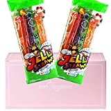 Jelly Straws Pack of 2 in a PINKRISTMAS Gift Box - Jelly Noodles Gummies Peach Mango Blueberry Lychee Flavors