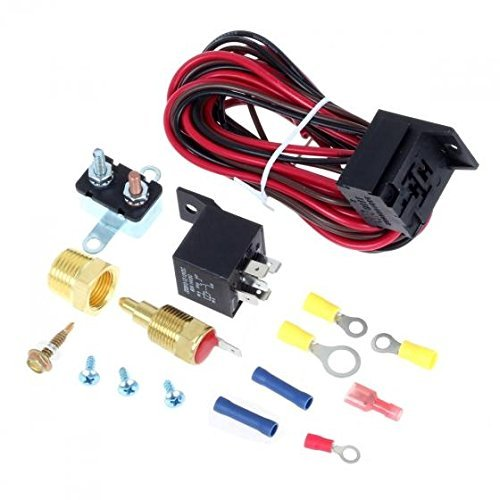 175-185 Degree Electric Cooling Fan Thermostat Kit Temp Sensor Temperature Switch Relay Kit
