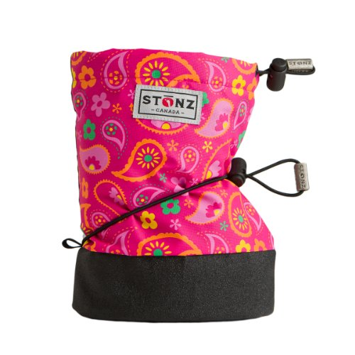Stonz Three Season Stay-On Baby Booties, for Bare Feet or Shoes, for Mild or Cold Snow Weather, Paisley Pink - Fuchsia Large