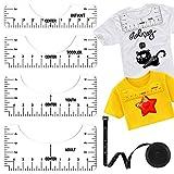 IHUIXINHE Juego de Reglas de Alineación de Camisetas, 4 Reglas de Alineación de Camisetas y 1 Regla de medición, Regla para Manualidades con Herramienta de Guía, para Adultos, Jóvenes, Bebés