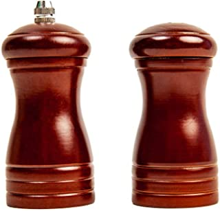 Salt Shaker and Pepper Mill Set | Stainless Steel Grinding Burr | Attractive Rubber Wood