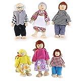 EXCEART 6Pcs Casa de Muñecas de Madera Juego Familiar Mini Personas Figuras Muñeca Familia Juego de Simulación Figuras para Niños ( Color Aleatorio )