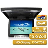 Moniteur Overhead 39,63cm (comme 15,6 pouces), 16\:9, 1366 * RGB * 768, USB et port SD, Incl. IR - et FM - Transmetteur, Pal et NTSC, 2x vidéo & 1x Audio - IN, avec éclairage intérieur du toit, noir