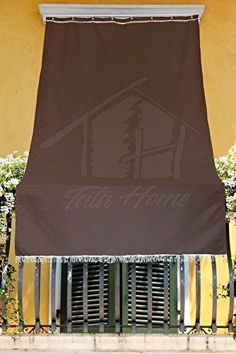 Tenda da Sole con Kit Ganci e Anelli in Tessuto Resistente da Esterno o Balcone Misura cm 140x300 Dis.5 Tinta Unita Colore Marrone