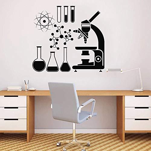 HGFDHG Escuela Aula decoración microscopio Ciencia Etiqueta de la Pared científico química Vinilo Ventana calcomanía Chica