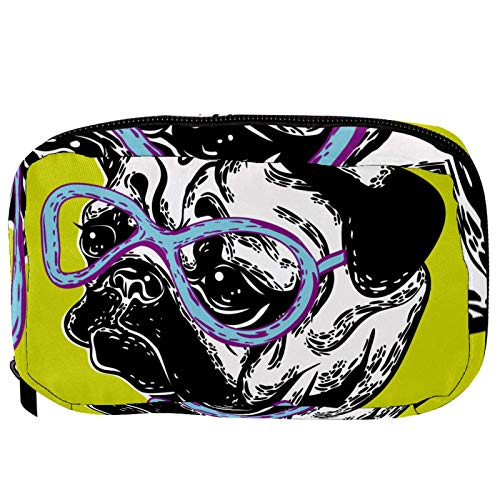Inhomer Toiletry Bags for Women Muzzle Puppy Dog In Glasses Bow Tie Travel Cosmetic Makeup Pouch Handy Pencil Cases