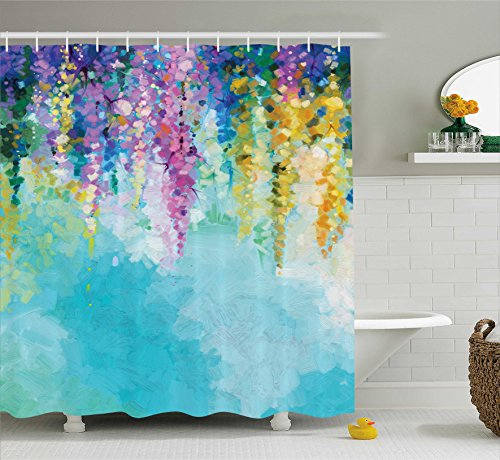 Ambesonne Flower Shower Curtain, Abstract Ivy Romantic and Landscape Spring Floral Artwork Nature Theme, Cloth Fabric Bathroom Decor Set with Hooks, 70' Long, Turquoise Purple
