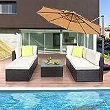 Polyratten Lounge 5 Teilig Sitzgruppe Gartenmöbel Garnitur für 3-4 Personen - 2