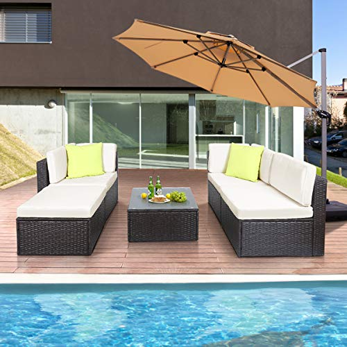 GOJOOASIS Polyratten Lounge, 5 Teilig Sitzgruppe, 200cm Gartenmöbel Garnitur für 3-4 Personen, Couch-Set in Braun-schwarz mit beigen Bezügen&grünen Kopfkissen, für Garten, Terrasse&Balkon(2 Pakete) - 8