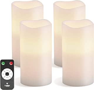 White Flameless Candles with Remote - 3x6 Inch Pillar, Set of 4, Warm White Flickering LED Light, Battery Operated, Real U...
