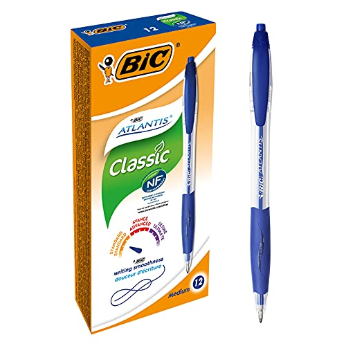 BIC Penne Blu a Sfera, a Scatto, Atlantis Classic, Punta Media (1.0 mm) Confezione 12 Penne, Fornitura per Cancelleria Scuola