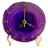 "AMOYSTONE 5"" Agate Table Clocks for Living Room Decor Round Clock Battery Operated Dyed Purple"