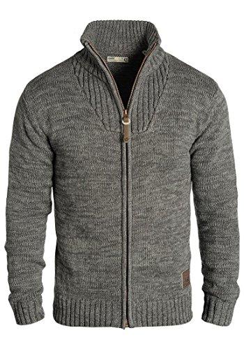 !Solid Pomeroy Herren Strickjacke Cardigan Grobstrick Winter Pullover mit Stehkragen, Größe:L, Farbe:Dark Grey (2890)