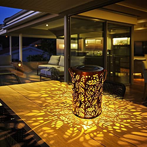 Farol Solar Exterior, TOGAVE Luz Solar Exterior Jardin IP44 Impermeable Luces de Patrón LED Luz Colgante Solar de Jardín Decoracion para Terraza, Camino, Mesa, Patio, Porche - Blanco Cálido