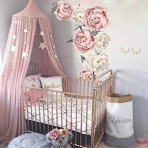 JXFY 102x72 CM Wandaufkleber Blume Pfingstrose Wandtattoo Baby Kinderzimmer Wanddekor Kinderzimmer Dekoration Nordic DIY Wandkunst Mädchen Schlafzimmer