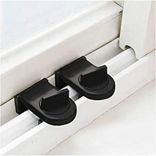 HGFF Adjustable Window Safety Lock Stopper Wedge with Rotary Switch Rubber Covered, Keep Sliding Window Closing and Partial Opening for Kids Safety 2PCS (black)