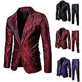 Traje Hombre 2 Piezas Rojo Talla Grande Casual Ceremonia Boda Negocios Ceremonia Blazer Chaleco Y Pantalones Abrigo Chaqueta Blazer Hombre Vestir Slim Fit Formal Fiesta Elegante Partido Suit