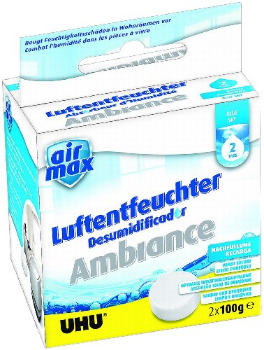 Uhu 50375 - Set di 2 pastiglie di ricarica per deumidificatore Air Max Ambiance, profumo Blue Sky, 100 g