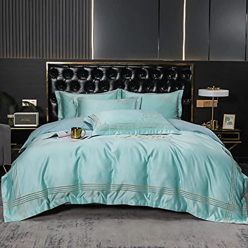 juegos de sábanas 150-Europeo 60s lavado de agua seda algodón bordado de color sólido cama doble cama individual un solo edredón especial es suministros para dormir un regalo de cuatro piezas-B_1,8 m