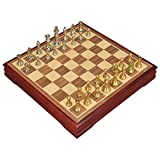 Yxxc Compact Board Classic Chess Set Chess Metal Zinc Alloy Chess Piece Chess Board Built-in Wooden Compartment Convenient Storage Rocker Desn Board Travel