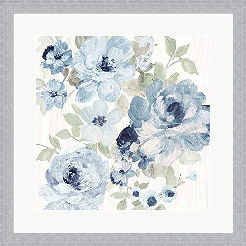 Driftwood Garden II Blue Crop by Wild Apple Portfolio Framed Art Print Wall Picture, Slim Silver Frame, 19 x 19 inches