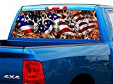 P443 American Flag Deer Tint Rear Window Decal Wrap Graphic Perforated See Through Universal Size 65' x 17' FITS: Pickup Trucks F150 F250 Silverado Sierra Ram Tundra Ranger Colorado Tacoma 1500 2500