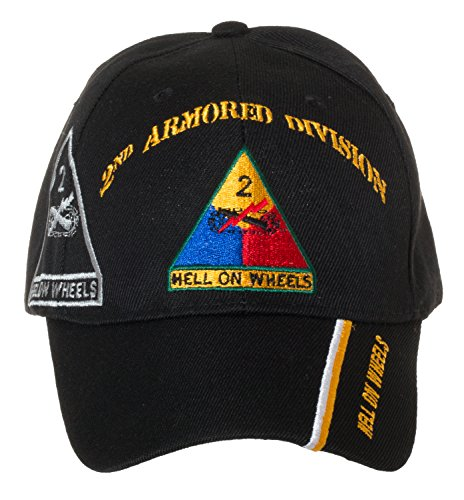 Artisan Owl Officially Licensed US Army Armored Division Black Embroidered Baseball Cap - Multiple Divisions Available! … (2nd Armored)
