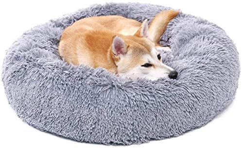 Huisdier nest Dog bed Ronde Huisdier Cat Bed Plush Donut Dog slaapbank Cats Nest Bed Kussens for Beter slapen hok (Color : Gray)