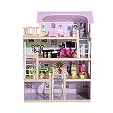 Homcom Maison de poupée en Bois Jeu d'imitation Grand réalisme Multi-équipement 60L x 30l x 80H cm Blanc et Rose