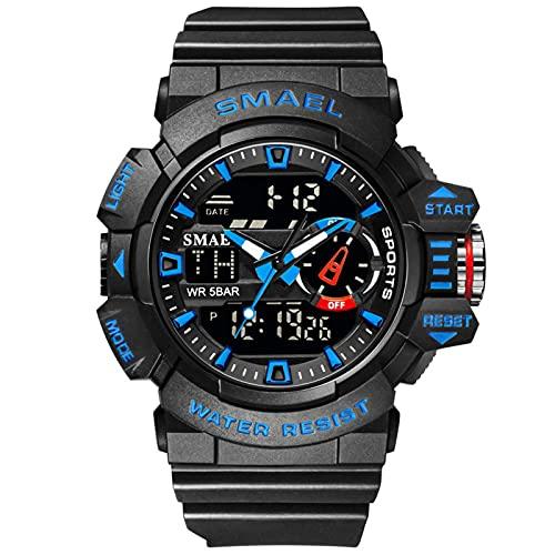 SMAEL Reloj Analógico Digital Militar Reloj Deportivo Hombres Dual Dial Negocio Casual Multifunción Relojes De Pulsera Electrónicos Reloj Resistente,Black Blue