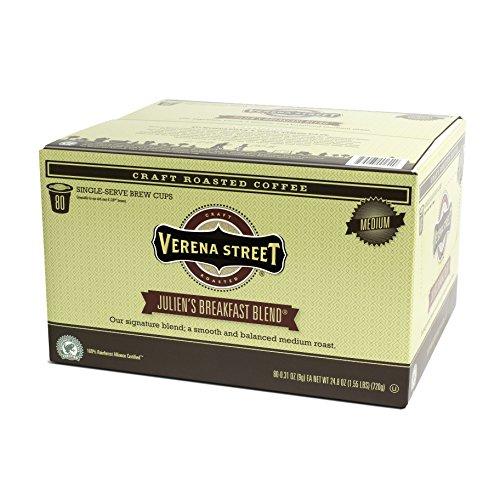 Verena Street Single Cup Pods (80 Count) Medium Roast Coffee, Julien's Breakfast Blend, Rainforest Alliance Certified Arabica Coffee, Compatible with Keurig K-cup Brewers