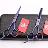 YLYT Left Hand Hairdressing Scissors Teeth Cut Straight Shear 5.5/6.0 Inch Set Rugged and Sharp Suitable for All Hair Styles