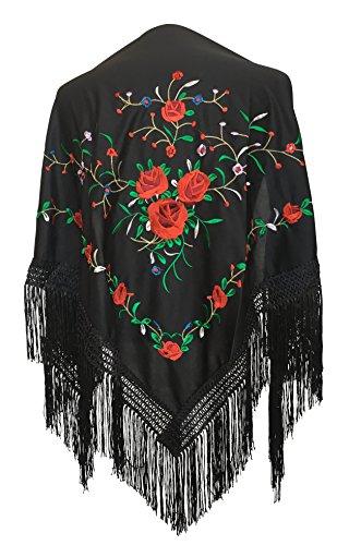 pequeño y compacto Pañuelo La Señorita bordado flamenco menton de Manila negro con rosas rojas