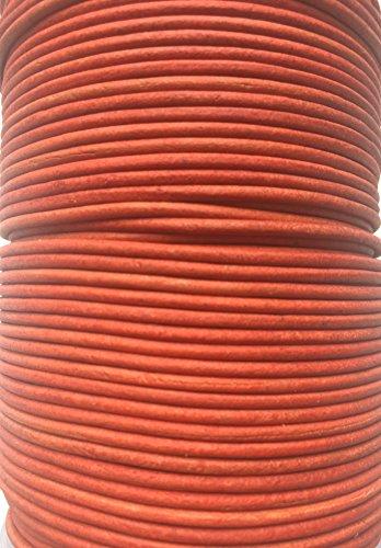 Rond de 2 mm véritable de qualité vaches Cuir antique Rouge Cuir Cordon bijoux Cordon Corde de fil de filetage String, Cuir, noir, 2 m