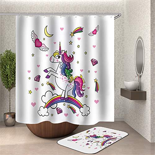 ZZZdz Rainbow Diamond Horse Love Stars tapijt 40 x 60 cm douchegordijn 3D-print HD waterdicht 180 x 180 cm